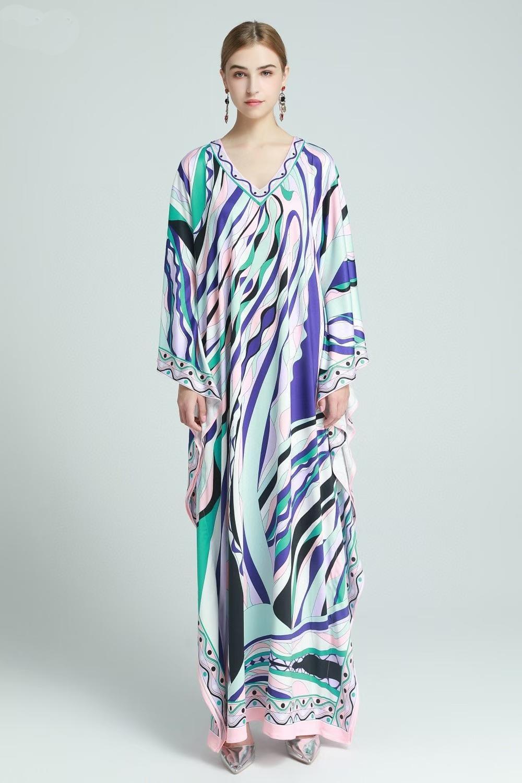 Bohemian мода ранней весны 2021 новый V-образный вырез рукав летучей мыши Slim и тонких женщины печать платье балахон