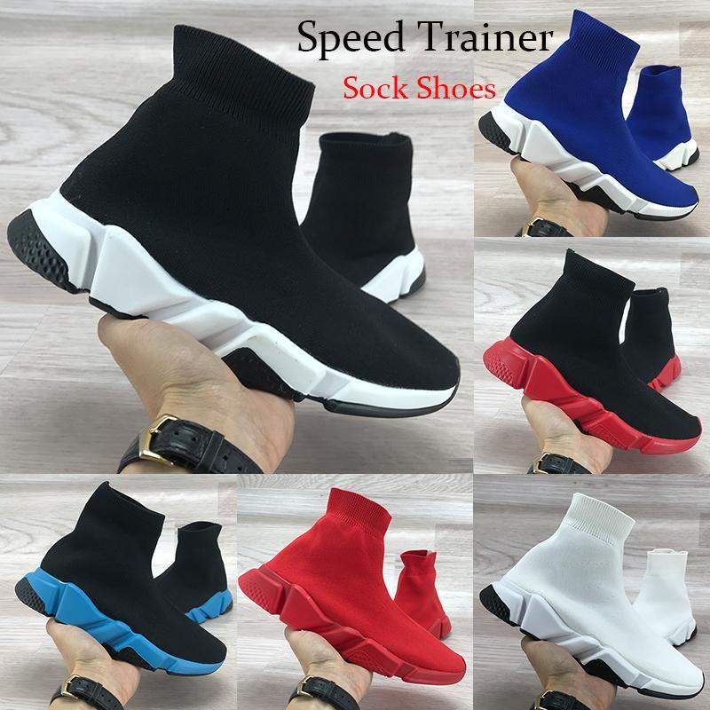 Sneaker da uomo di marca Speed Trainer High Mens Scarpe casual Nero Rosso Bianco Royal Calzini di alta qualità Stivali di design Scarpe 36-45