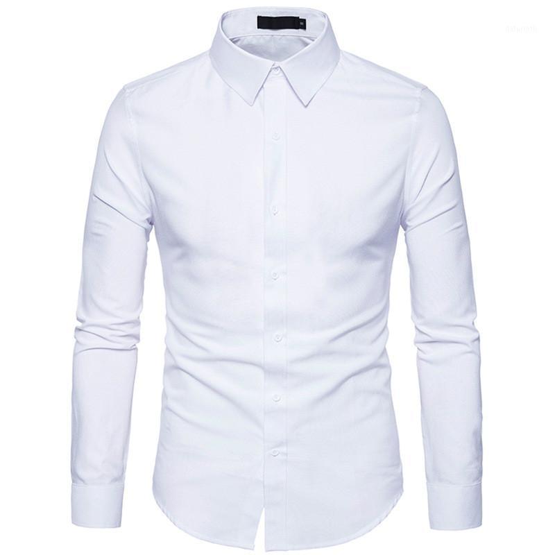 Горячая распродажа Новая мода Мужская рубашка с длинными рукавами Сплошная тонкий воротник поворотный воротник повседневная рубашка мужские платья рубашки бренда EU / US Size1