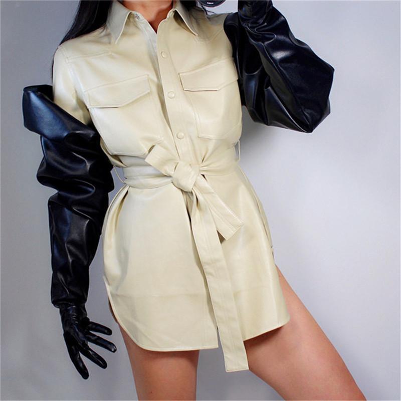 Сенсорный экран длинные перчатки 85см Большой рукавом Широкий манжета шар Puff рукава Моделирование Кожа Женщины кожаные перчатки Размер XL WPU166 201019