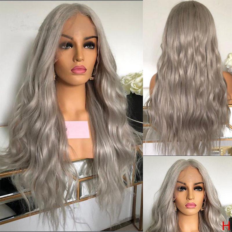 Бразильская фронта шнурка человеческих волос Парики для женщин Грэй естественная волна фронта шнурка 13x6x1 T Часть парик шнурка с ребенком волос