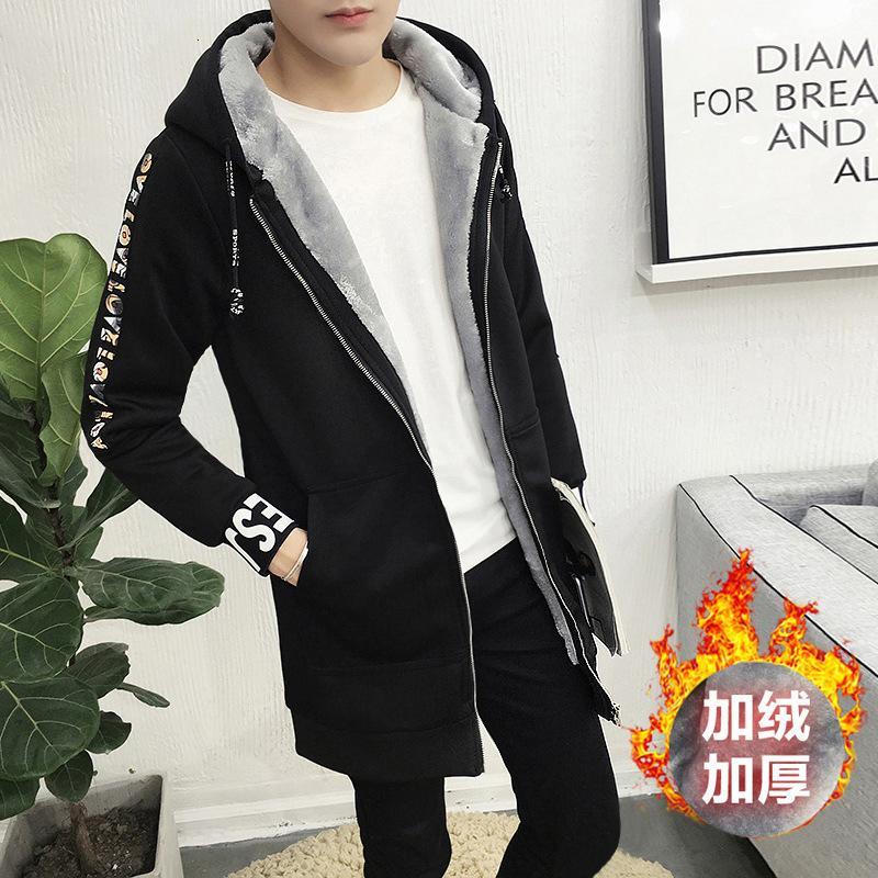 Kış yeni peluş ve kalınlaşmış orta boy büyük kapüşonlu rüzgarlık erkek moda
