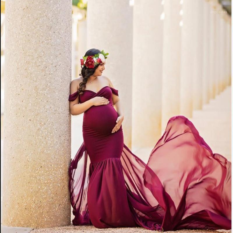 Pographie de maternité accessoires de grossesse longue robe pour PO Tirage à l'épaule Enceintes Robes Femmes Maxi Robe1