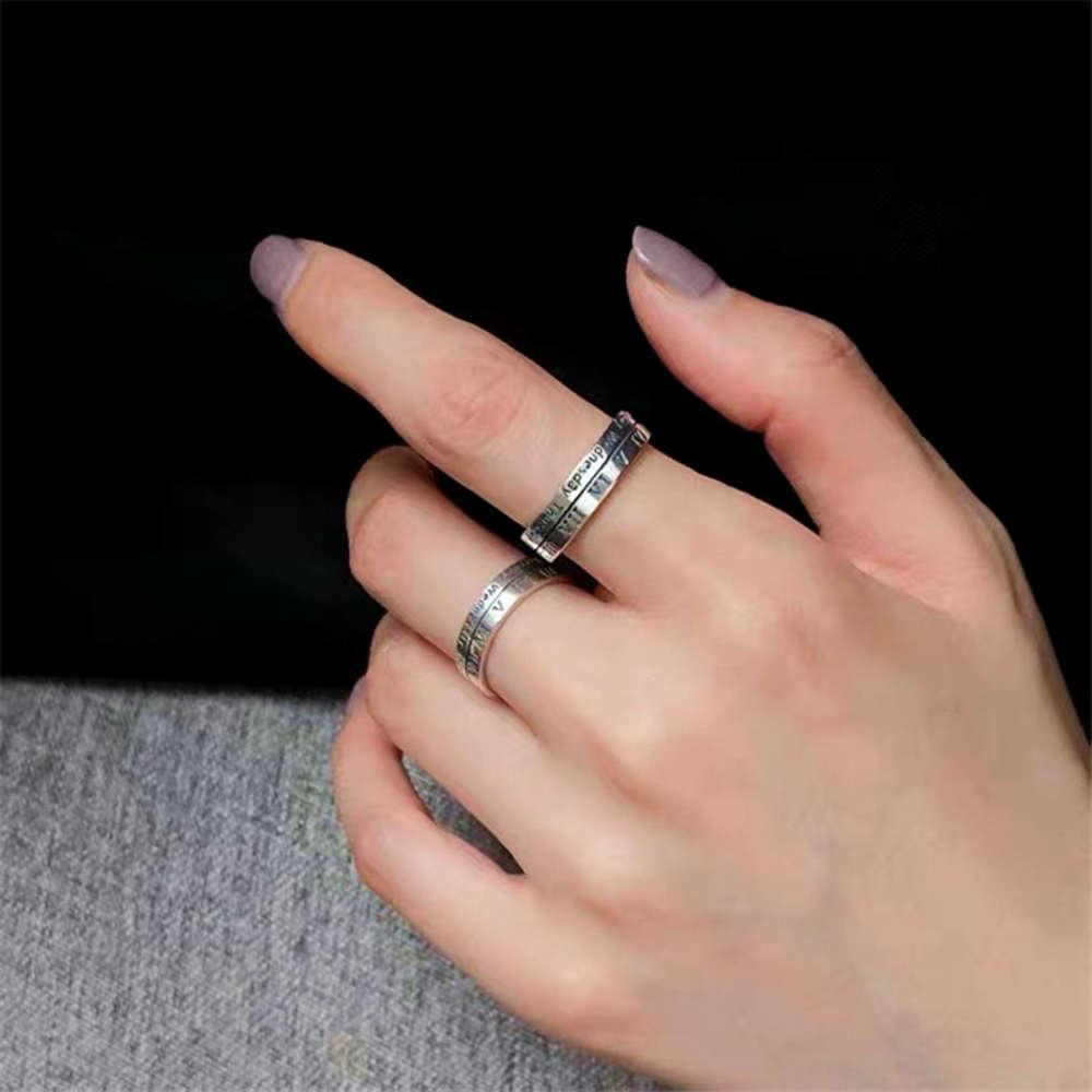 S925 Thai Silver Women's Fashion Red Red Cool Wind Best Friend Popping Apertura Regolabile Indice anello dito