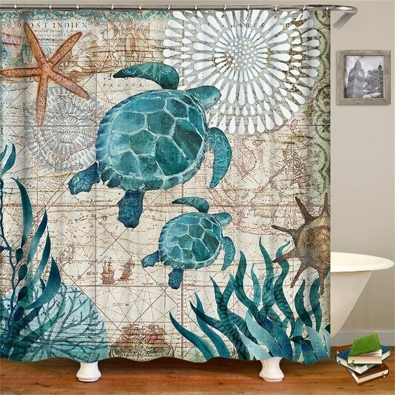 Tortue océan-tortue étanche Rideau de douche Octopus Accueil Rideaux de salle de bain en polyester Tissu Rideau de bain Personnalisé 201128