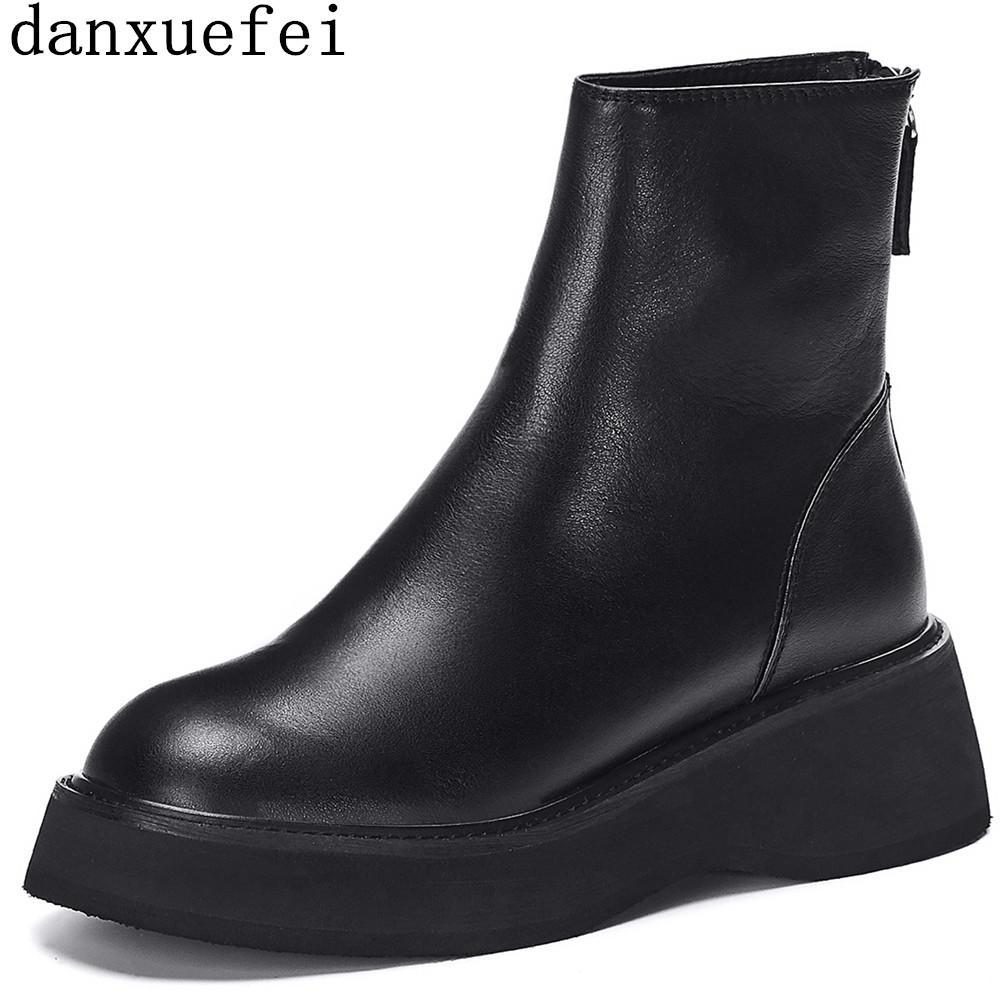 gruesas pisos única plataforma botines de cuero auténtico y la punta redonda posterior postal punky otoño botines cortos zapatos de alta calidad