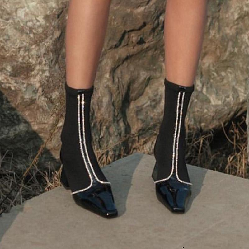 Tacchi Scarpe Donna Brand Design donne Cristalli Decor Nero calzino Botines Chunky Botas Mujer Jnvierno Winer Stivaletti