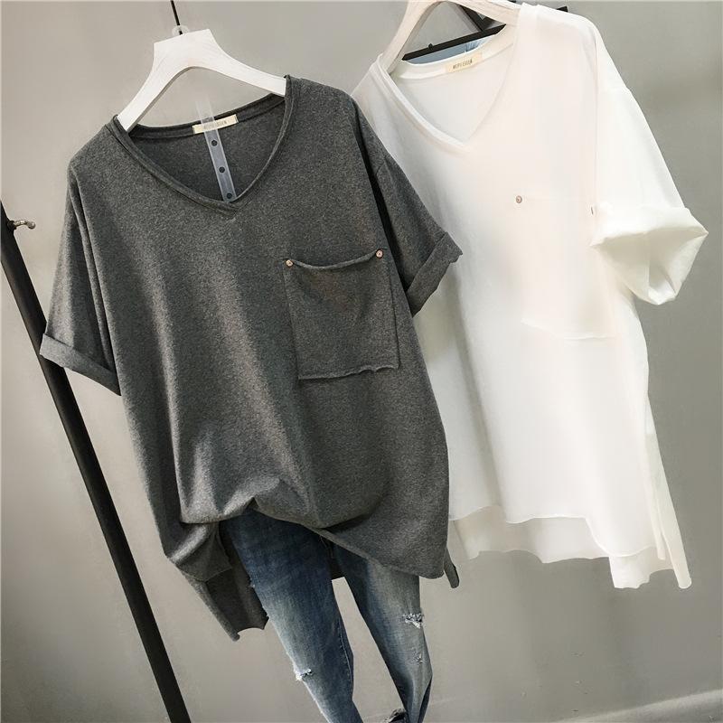 Damen T-Shirt 2021 Sommer Lose Übergroße Kurzarm Frauen T-shirt Korea Mode Einfache Massive Farbe Tasche V-Ausschnitt Plus Größe Schwarz Top