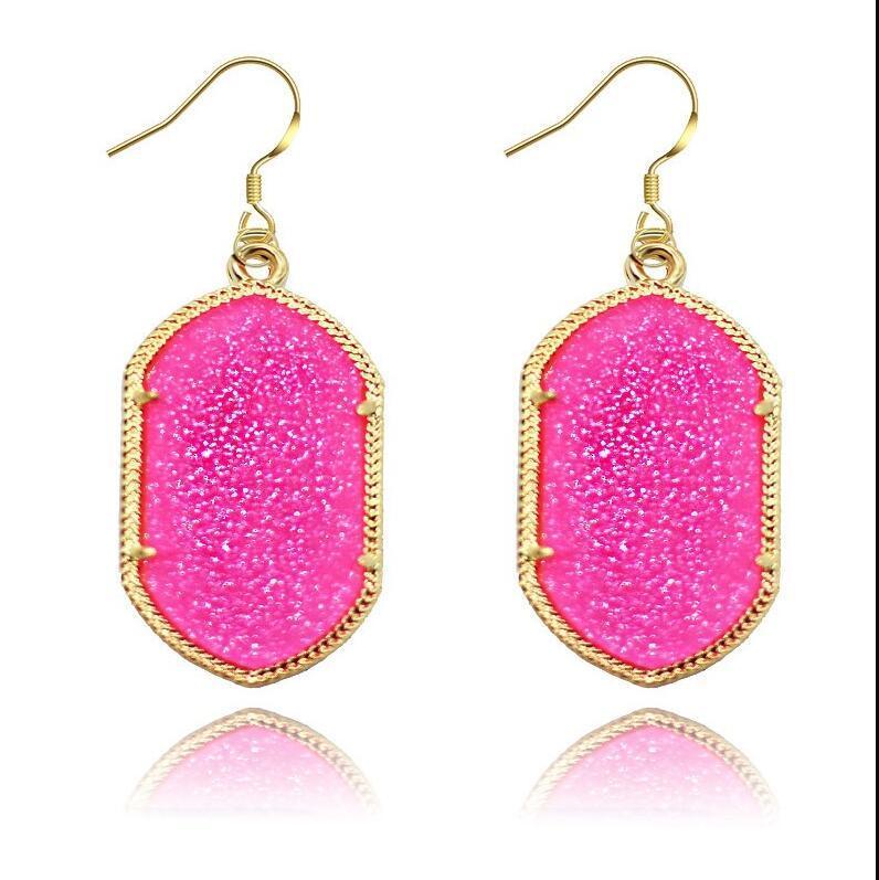 Altın Çerçeve Kendra Tarzı İmza Küpe Bling Bling Geometri Bildirimi Küpe Moda Dangle Küpe Kadınlar Için 8 Renkler PS1423