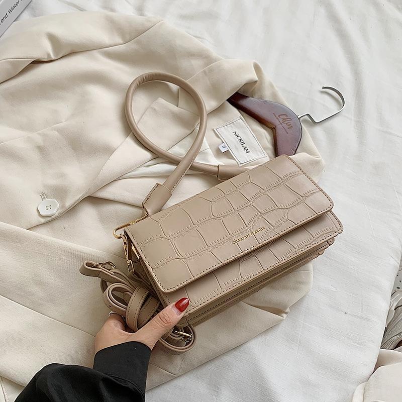 Stone pattern for women 2020 new fashion Korean women's trend versatile Shoulder Small small square bagsquare bag texture Single Shoulder Me