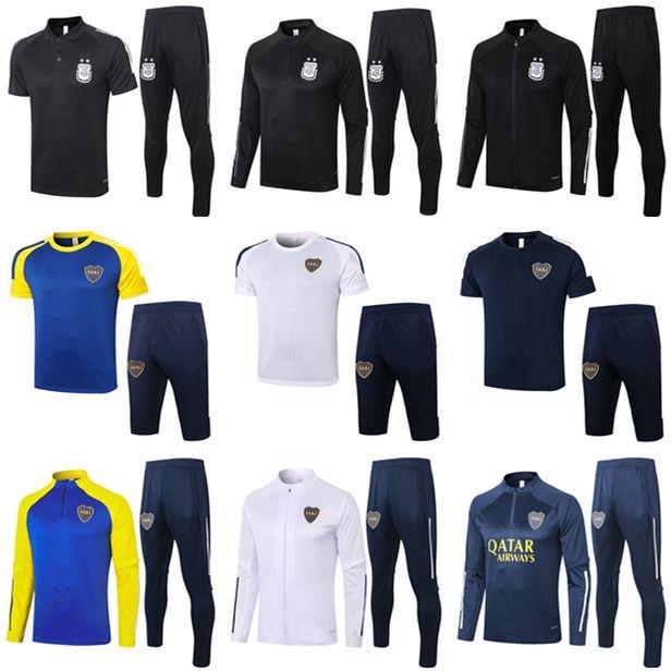 2020 2021 Boca Juniors Soccer Training Suit Polo Kit 20 21 Argentina Jacket Tevez Maradona De Rossi Kun Aguero Football Tracksuit