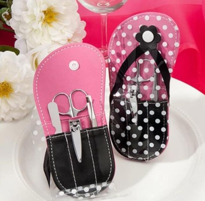 100pcs Wedding favors gifts Flower Flip-Flop Manicure Set white dot slipper shape nail care set + DHL Free Shipping SN2291