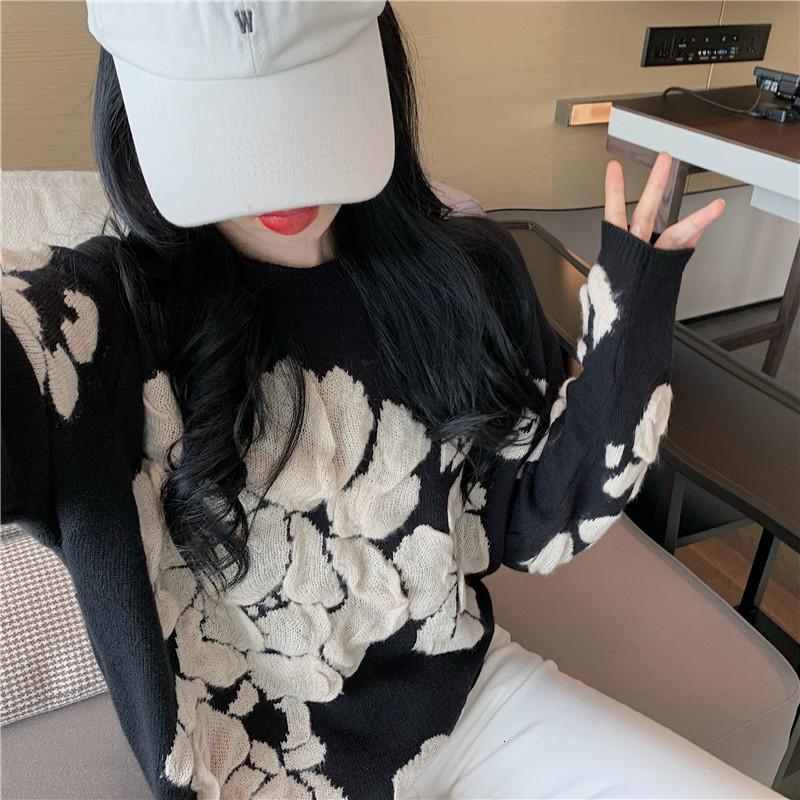 Осень 2020 новый вялый жаккарда с длинным рукавом свободных верхней круглой шеей пуловера свитера для женщин