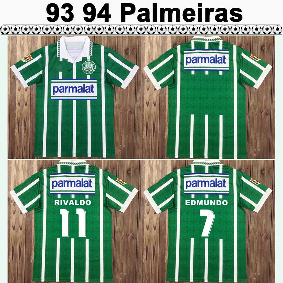 93 94 Palmeiras R. Carlos Edmundo Mens rétro Jerseys Soccer Zinho Rivaldo Evair Maison Vert Chemises de football Vert Mens Uniformes Sleeve Short