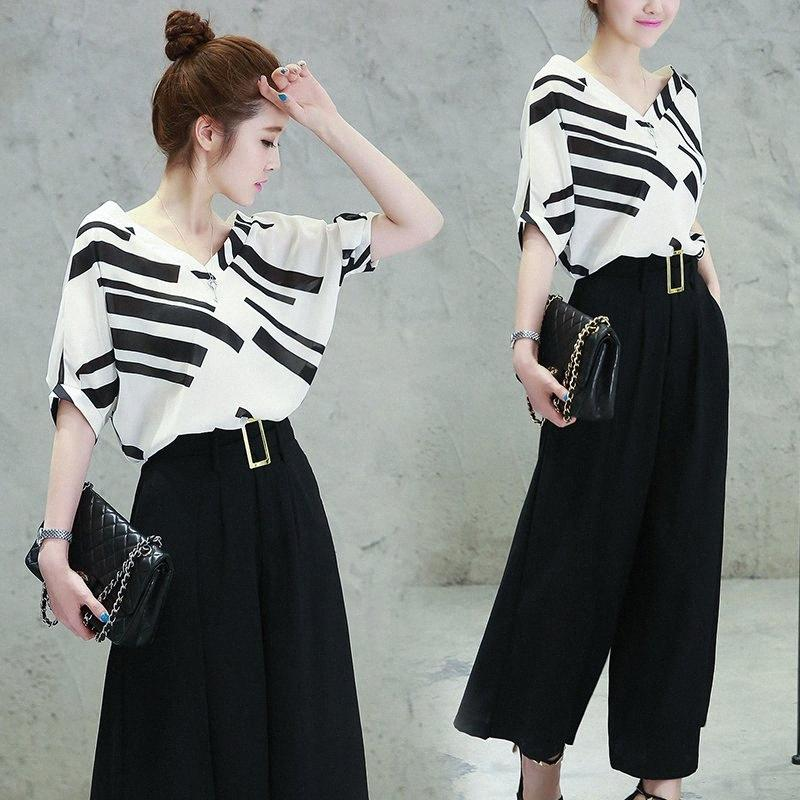 Büro-Dame Kleidungssatz Frauen Sommer schwarz und weiß abgestreift Druck lose Bluse V-Ausschnitt Tops + große Beinhosenanzüge NS278 9ptJ #