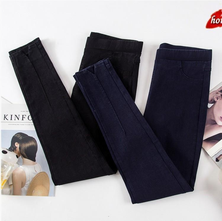 Mujeres Jeans Autumn Pantalones delgados delgados Pantalones de lápiz casual Pantalones vaqueros para mujer Casual Elástico Cintura Alta Talla grande O8R21