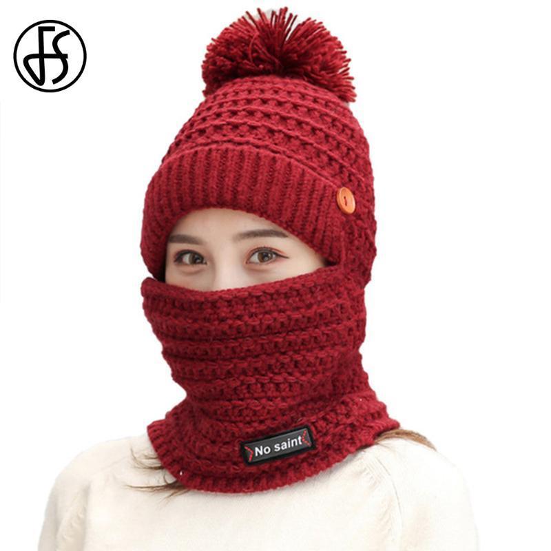 FS Woollen Hat et écharpe chaud en plein air Cyclisme coupe-vent chapeaux d'hiver pour les femmes Tricoté Pompon Casquettes Beanies Designer Bonnet