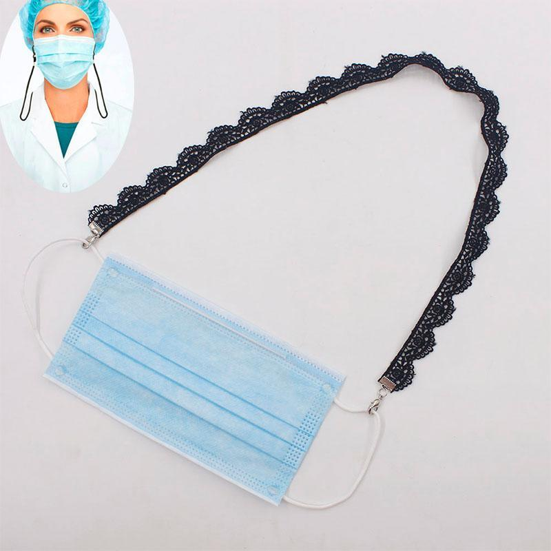 Máscara de pescoço de segurança preta pendurar para máscaras titular de cordão na corda restaar a máscara de extensão laço holding handyconvenient string ehjms