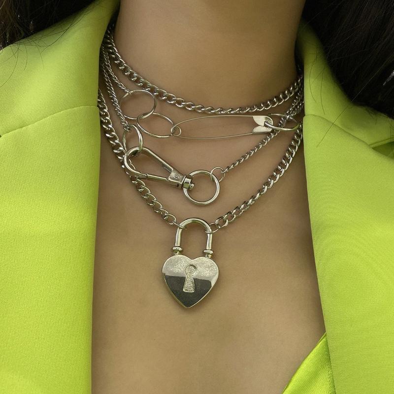 قلادة القلائد قفل قلادة المرأة الأزياء والمجوهرات دبوس الذهب الطبقات الكوبي ربط سلسلة حزب اكسسوارات عيد هدية