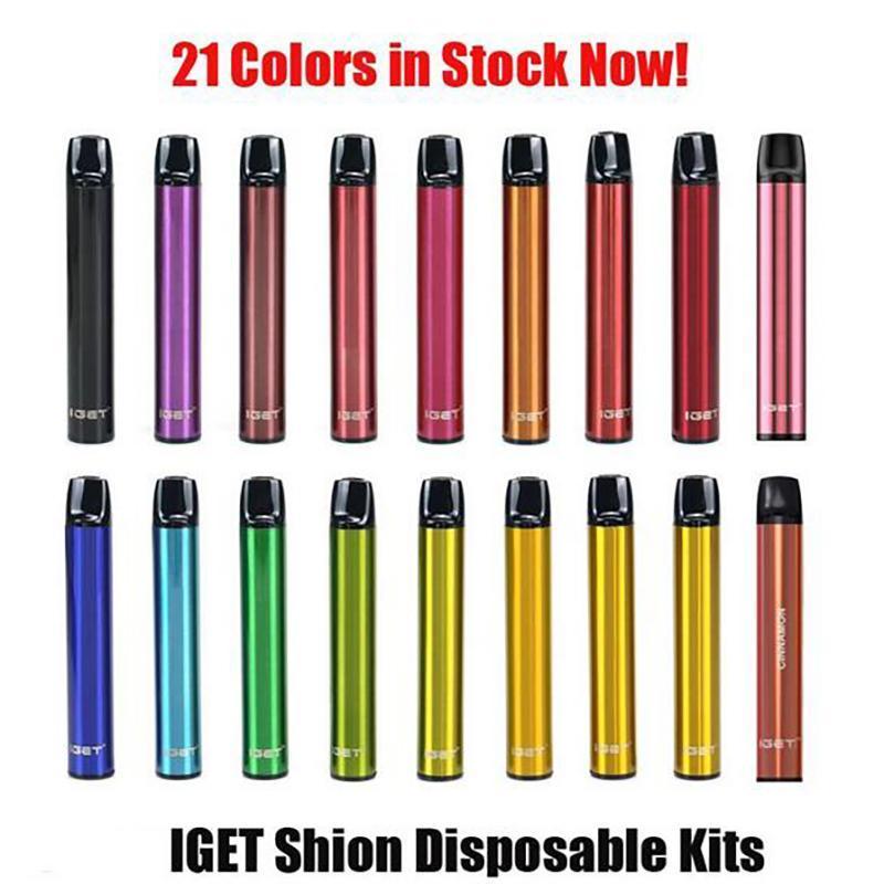 Orijinal Iget Shion Tek Kullanımlık Pod Cihazı Kiti 600 Puf 400 mAh 2.4 ml Tercih Edilen Taşınabilir Vape Sopa Kalem Çubuğu Artı XXL Max 100% Otantik DHL