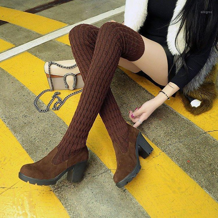 Botas 2021 otoño otoño muslo alto para zapatos mujer tejer lana lana larga botas marrón / negro damas zapatos1