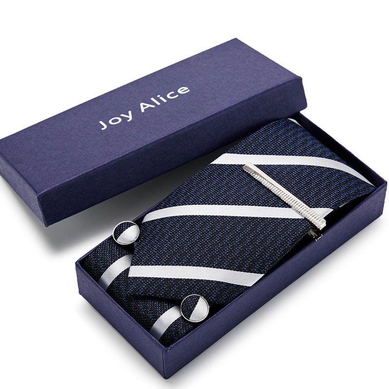 Männer Krawatten Geschenk-Box Männer Luxus netie Dichter Quadrat Seidenkrawatte Satz Paing Manschettenknöpfe Taschentuch Krawattenklammer formale Hochzeit Party