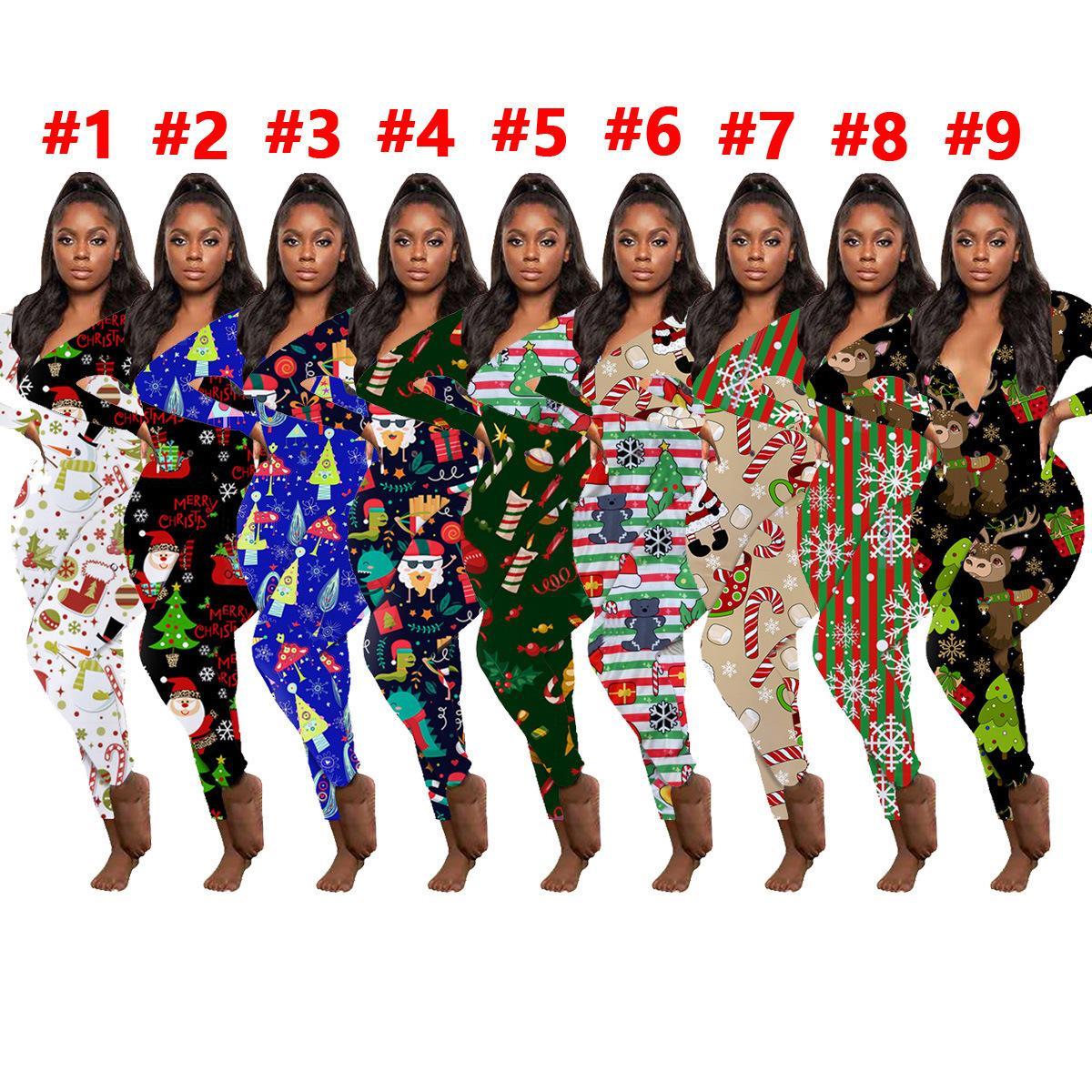 Женская комбинезон Slim Sexy Halloween Мода Домашняя одежда Рождественские Напечатанные V-образные вырезы Длинные брюки с длинным рукавом Дамы Новые Углушки 2020