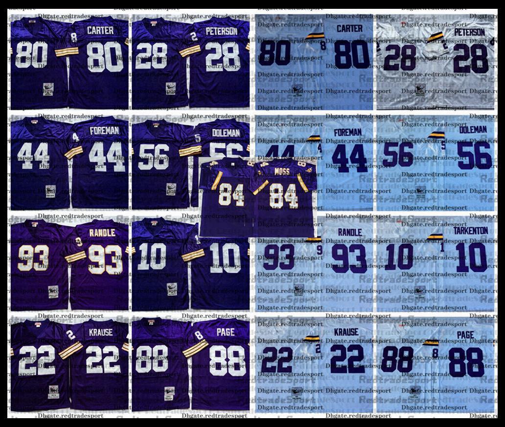 Vintage Randy Moos Fran Tarkenton Paul Krause Chuck Foreman Chris Doleman Carter John Randle Peterson Alan Football Jersey AC1