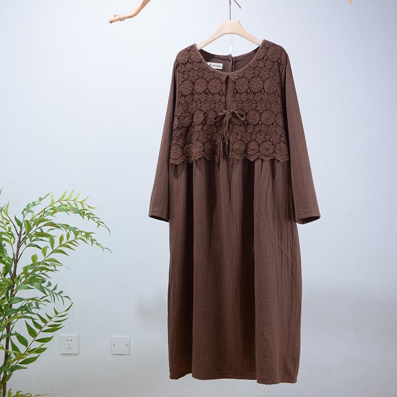 20 Automne hiver NOUVEAU Style Coton et lin Température japonaise Trend Mori Femme Elegante Atmosphère Robe