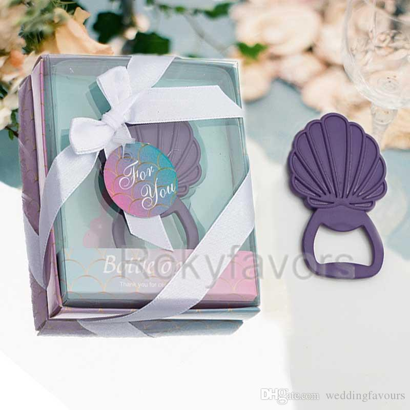 50PCS Seashell Bottle Opener Wedding Favors Mermaid Beach Theme Party Gifts Birthday Event Supplies Engagement Keepsake Bridal Shower