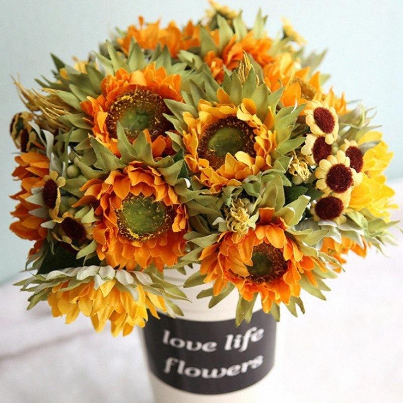 Ramo de girasoles artificiales Vivid fiesta de la boda Mujeres Decoración de seda Festival de Flores Inicio la decoración del arte DIY falso Flores RFA2 #