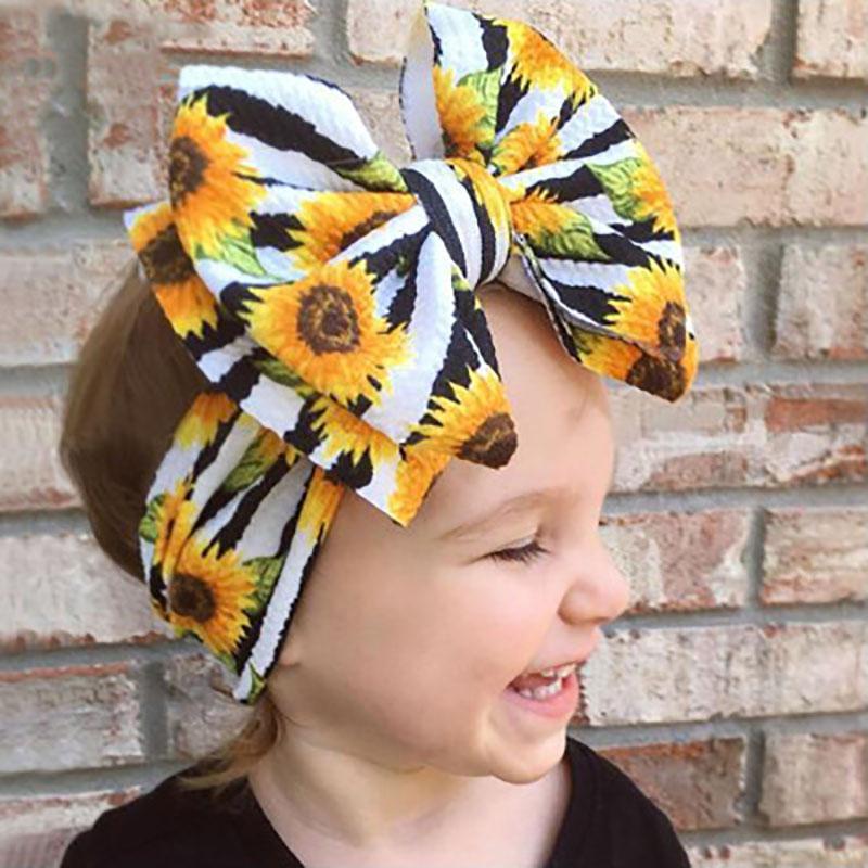 Impreso Waffle venda del bowknot hairband ancho niños accesorios para el cabello del bebé recién nacido turbante de cumpleaños de lujo Boy pelo de la venda Wraps Cabeza