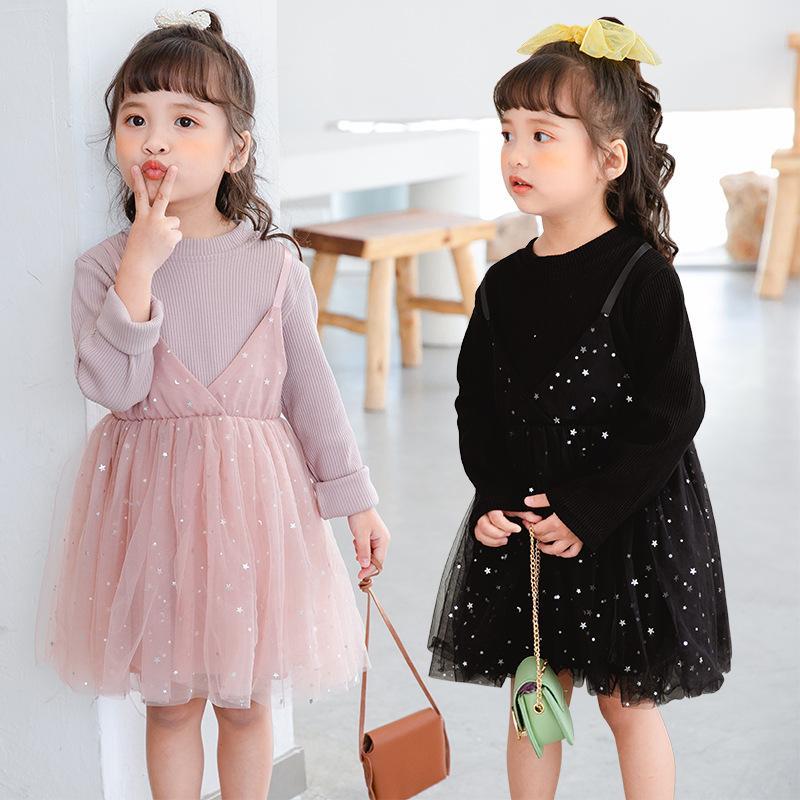 Printemps Vêtements de bébé 2020 Robes enfants Fake deux sequins à cinq branches Etoiles Jupe pettiskirt dentelle Tutu Mesh jarretelle Robe M339