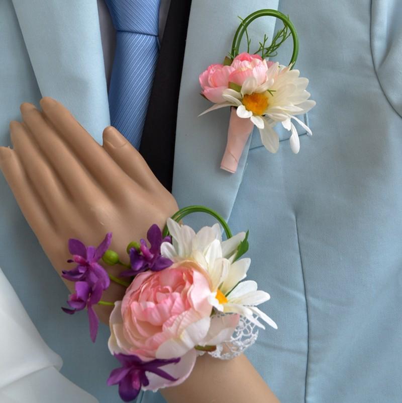 Fleur de mariage Homme Boutonniere Groom Groomsman Pin Broche Corsage Décoration Artificielle Mariée de demoiselle d'honneur Fleur du poignet 2pcs / Lot