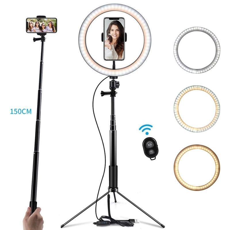 """6/8/10"""" LED avec le téléphone Holder Youtube en direct caméra vidéo Makeup Trépied Artiste selfie Bâton Anneau Pied de lampe"""