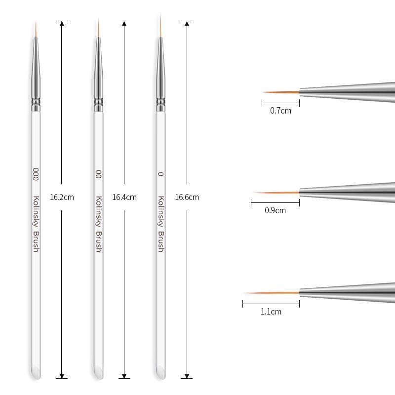 3Pcs / set Kolinsky Gel-Nagel-Kunst Linie Malerei Bürsten Kristallacryl Dünne Liner-Zeichnungs-Feder-Nagel-Kunst-Maniküre-Werkzeug-Set