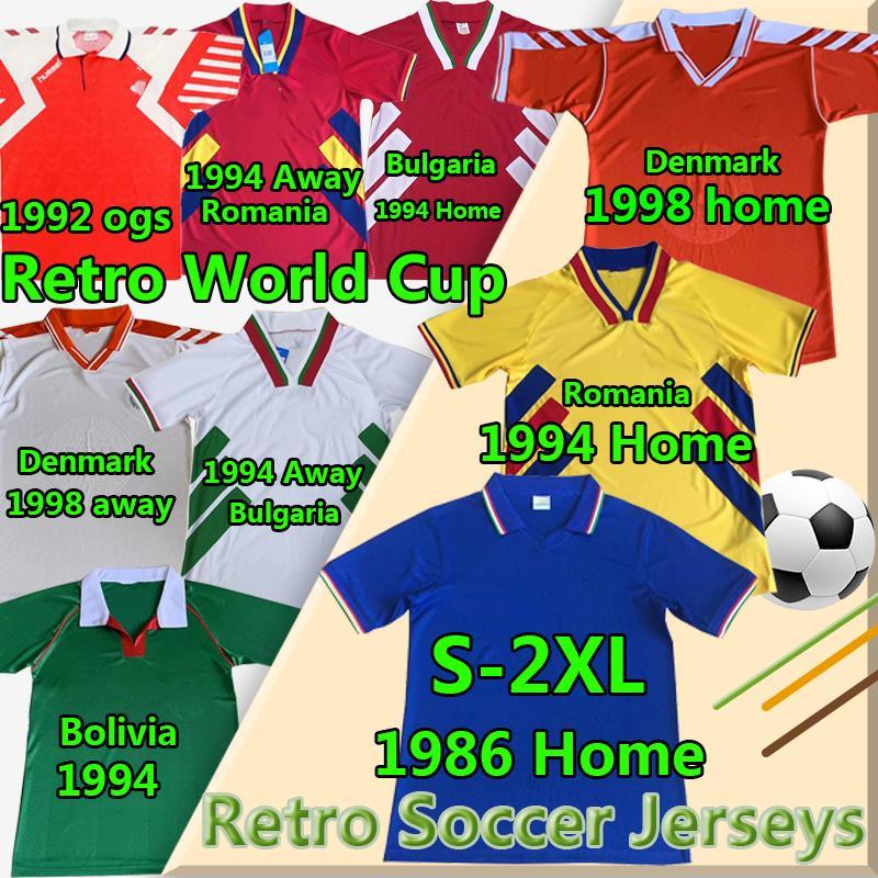 Nationalmannschaft Vintage Klassische Retro-Fußball-Trikots Dänemark 1992 98 Bolivien Rumänien Zuhause 134 Bulgarien Ita 1986 LY Football Hemden