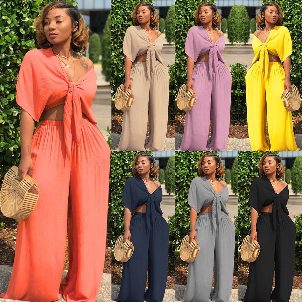 Women Sets Summer Tracksuits Fitness V-Neck Bow Tops+Wide Leg Pants Suit Two Piece Set Night Outfits 2 Pcs Street GL7003 201007