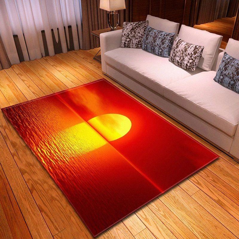 3D Sunset imprimé Tapis Décoration salle à manger salon de Tapis Flanelle Tapis mousse mémoire de chambre pour Living Room Ypv2 #