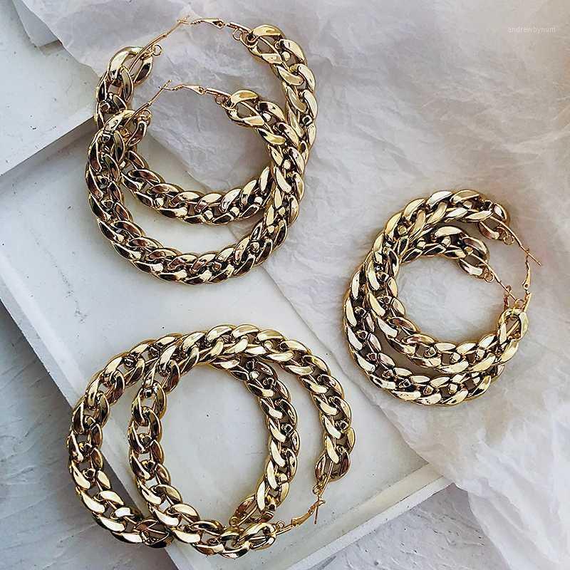 Amorcome Punk Gold Color Chain Hoop Boucles d'oreilles Pour Femmes Mode Populaire Cercle de métal Cercle rond Boucles d'oreilles Déclaration Bijoux Cadeau1