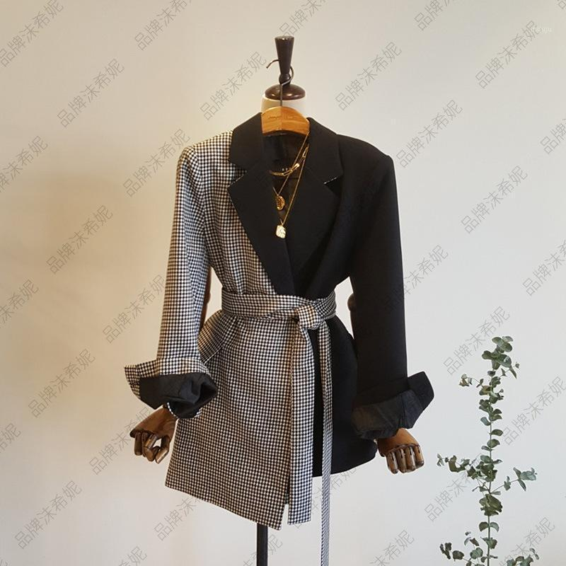 Superaen Primavera e Outono retro manta retalhos entalhados pequenos terno mulheres meninas irregulareira cintura blazer mulheres1
