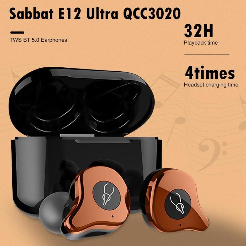 Sabbat E12 Ultra QCC3020 TWS Bluetooth 5.0 fone de ouvido estéreo sem fio Earbuds Hifi Stereo Headset impermeável Sport fone de ouvido