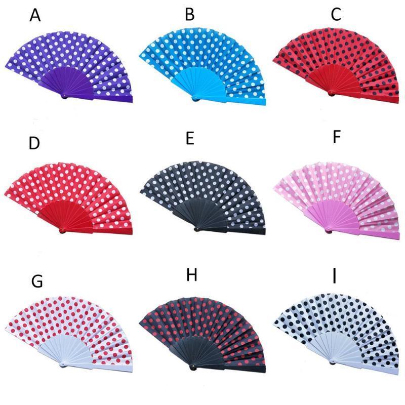 9 colores elegante plástico español ventiladores de mano japoneses lunares mano plegable ventilador regalos chino plegable ventilador