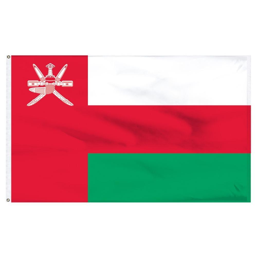 Trasporto libero nelle azione 3x5ft 90x150cm OMN Bianco Rosso Verde Nazionale del Sultanato dell'Oman per interni ed esterni Banner