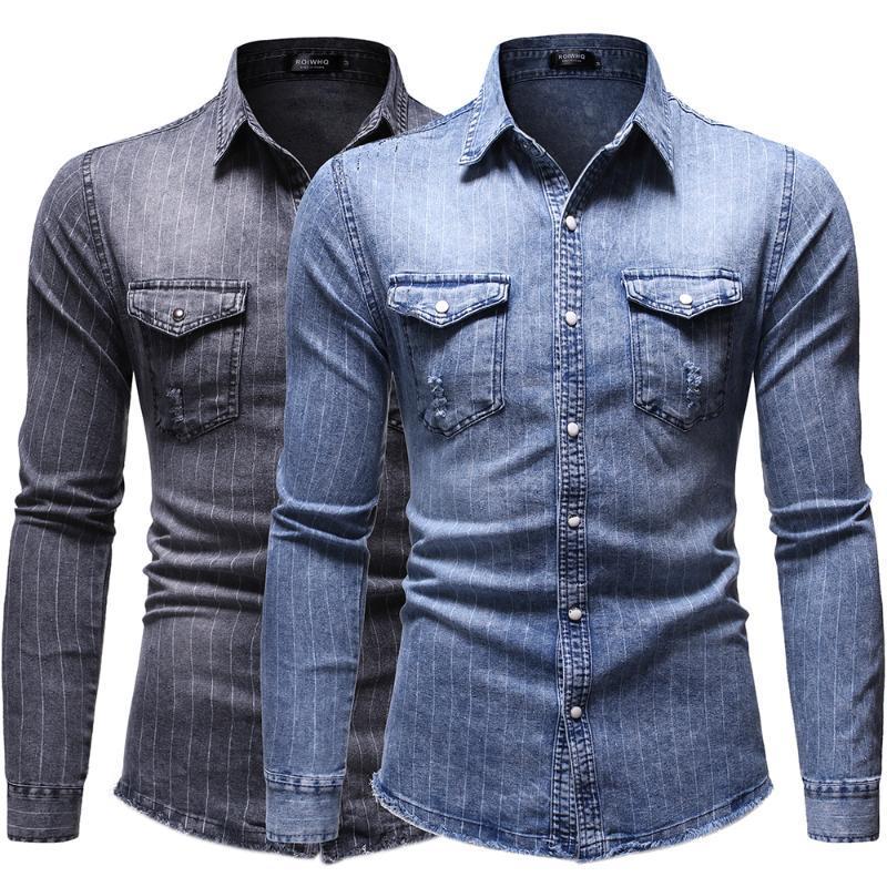 2021 Frühling und Herbst Neue Mode Casual Herren gestreifte Revers Single-Breasted Slim Long Sleved Herren Denim Jacke