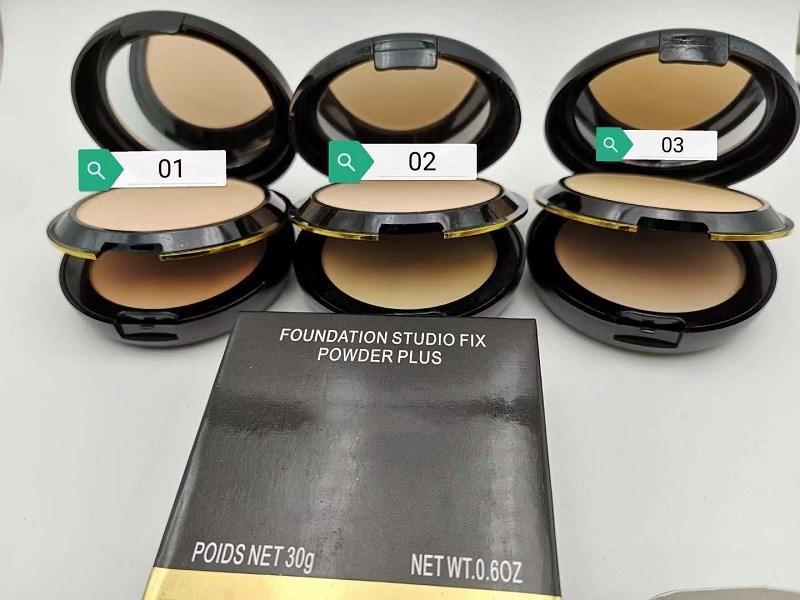 Nuovi Trucco Colori a doppia piattaforma pressata in polvere con soffio 3 colori 30g Beauty Beauty Cosmetics Pressed Face Powder Foundation Top Quality Regalo