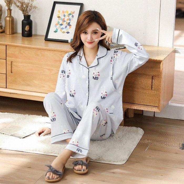 Confinement Vêtements pur coton Cardigan femmes enceintes Pyjama printemps et en automne maternelles postnatales Soins infirmiers Printemps Eté Thi X2K9 #