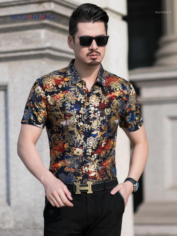 Camisa de impresión floral hombres 2020 nuevo oro bronceado manga corta camiseta homme flojos flor vestido camisas camisa masculina1