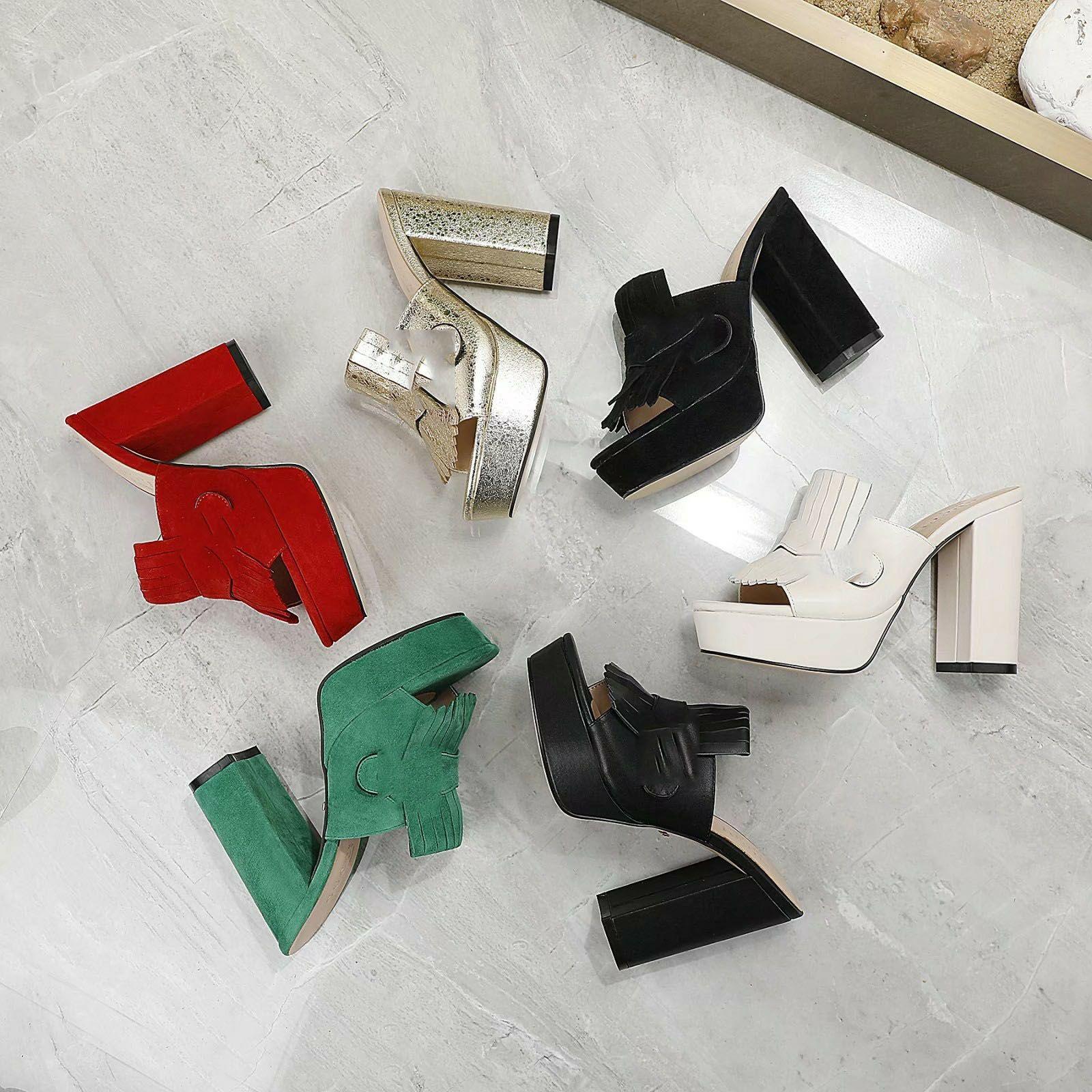2020 Mode Femme Haute Talons Slides Girls Casual Chunky Heel Sandales Bureau Lady Outdoor Soft En Cuir Sous-Platefères Pantoufles 35-42 # G11