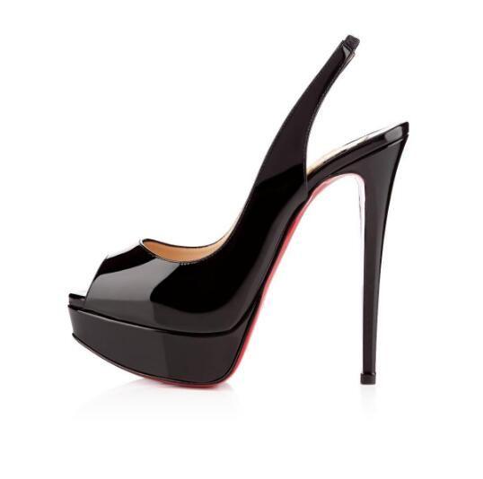 Zapatos de boda para mujer Red Peep-Toe Patente de cuero rojo Tacones altos Tacones altos 14 cm Zapatos Mujer Impermeable Tacones Vestido Bombas